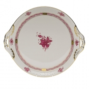 "Chinese Bouquet Raspberry ROUND TRAY W/HANDLES  11.25""D"