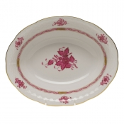 "Chinese Bouquet Raspberry OVAL VEG DISH  10""L X 8""W"