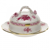 Chinese Bouquet Raspberry COV BUTTER DISH