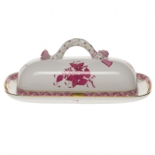 Chinese Bouquet Raspberry BUTTER DISH W/BRANCH