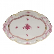 "Chinese Bouquet Raspberry RIBBON TRAY  15.75""L X 11""W"