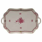 Chinese Bouquet Raspberry REC TRAY W/BRANCH HANDLES  18""