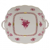 Chinese Bouquet Raspberry SQUARE CAKE PLATE W/HANDLES