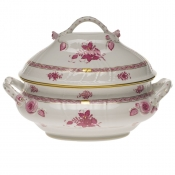"Chinese Bouquet Raspberry TUREEN W/BRANCH  (4 QT) 10""H"
