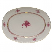 "Chinese Bouquet Raspberry PLATTER  15""L X 11.5""W"