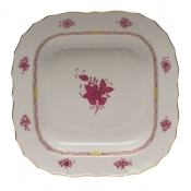 "Chinese Bouquet Raspberry SQUARE FRUIT DISH  11""SQ"