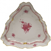 "Chinese Bouquet Raspberry TRIANGLE DISH  9.5""L"