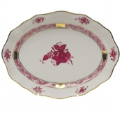 Chinese Bouquet Raspberry SMALL OVAL DISH