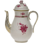 Chinese Bouquet Raspberry COFFEE POT W/ROSE  (60 OZ) 10""