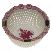 Openwork Basket w/ Flowers - Raspberry