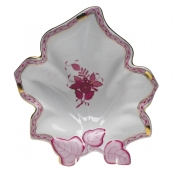 Herend Leaf Dish - Chinese Bouquet Raspberry