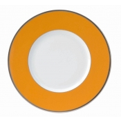 Les Indiennes Matte Platinum Filet Mandarine Dinner Plate
