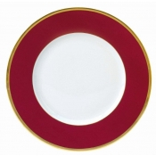 Les Indiennes Matte Gold Filet Raspberry Dinner Plate