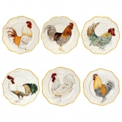 Plumes Set 6 Dinner Plates - One each motif
