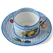 Potager Blue Tea Cup & Saucer