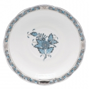 Herend Chinese Bouquet Turquoise & Platinum Tea Saucer (only)