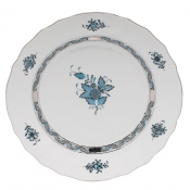 Herend Chinese Bouquet Turquoise & Platinum Dinner Plate - 10.5""