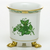 Herend Mini Cachepot w/ Feet - Chinese Bouquet Green
