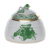 "Chinese Bouquet Green HONEY POT W/ROSE   2.5""H"
