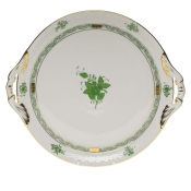 "Chinese Bouquet Green ROUND TRAY W/HANDLES  11.25""D"