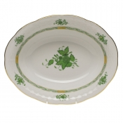"Chinese Bouquet Green OVAL VEGETABLE DISH  10""L X 8""W"