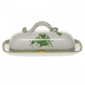 Chinese Bouquet Green BUTTER DISH W/BRANCH