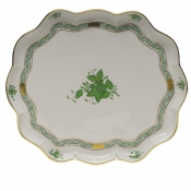 "Chinese Bouquet Green SCALLOP TRAY  11.25""L X 9.5""W"