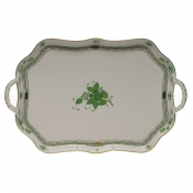 Chinese Bouquet Green TRAY RECTANGULAR W/BRANCH HANDLES  18""