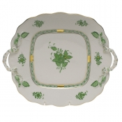 Chinese Bouquet Green SQUARE CAKE PLATE W/HANDLES  9