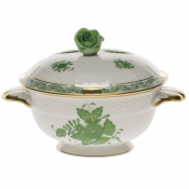 Chinese Bouquet Green Covered Bouillion Cup & Lid