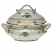 "Chinese Bouquet Green TUREEN W/BRANCH  (4 QT) 10""H"