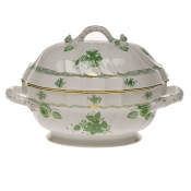 "Chinese Bouquet Green TUREEN W/BRANCH  (2 QT) 9.5""H"