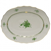 "Chinese Bouquet Green PLATTER  17""L X 12.5""W"