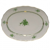 "Chinese Bouquet Green PLATTER  15""L X 11.5""W"