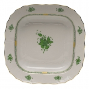"Chinese Bouquet Green SQUARE FRUIT DISH  11""SQ"
