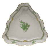 "Chinese Bouquet Green TRIANGLE DISH  9.5""L"