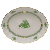 "Chinese Bouquet Green OVAL DISH  8.25""L X 6.75""W"