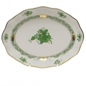 "Chinese Bouquet Green SMALL OVAL DISH 7.5""L X 1.5""H"