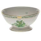 "Chinese Bouquet Green FOOTED BOWL 5""D X 2.5""H"