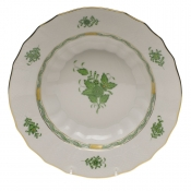 "Chinese Bouquet Green RIM SOUP  9.5""D"