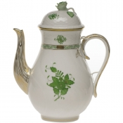 Chinese Bouquet Green COFFEE POT W/ROSE  (60 OZ) 10""