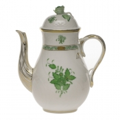 Chinese Bouquet Green COFFEE POT W/ROSE  (36 OZ) 8.5