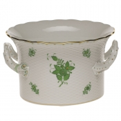 Herend Chinese Bouquet Green Cachepot w/ Handles