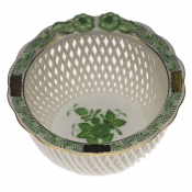 Openwork Basket w/ Flowers - Green