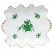 Chinese Bouquet Green - Small Dish with Pearls Handles