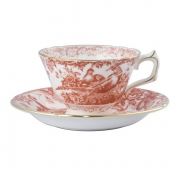 Red Aves Tea Saucer