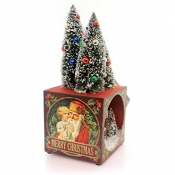 Bethany Lowe Traditional Christmas Shadowbox with Bottle Brush Trees with lights