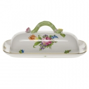 "Printemps BUTTER DISH W/BRANCH  8.5""L"