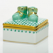 Herend Baby Bootie Box - Green