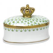 Herend Fishnet Box w/ Crown Key Lime